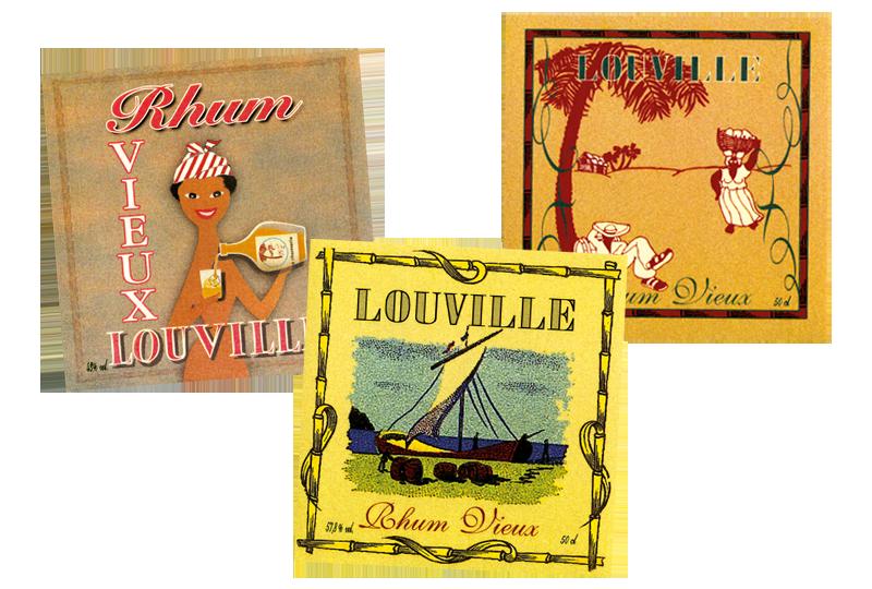 Les étiquettes de rhums Louville