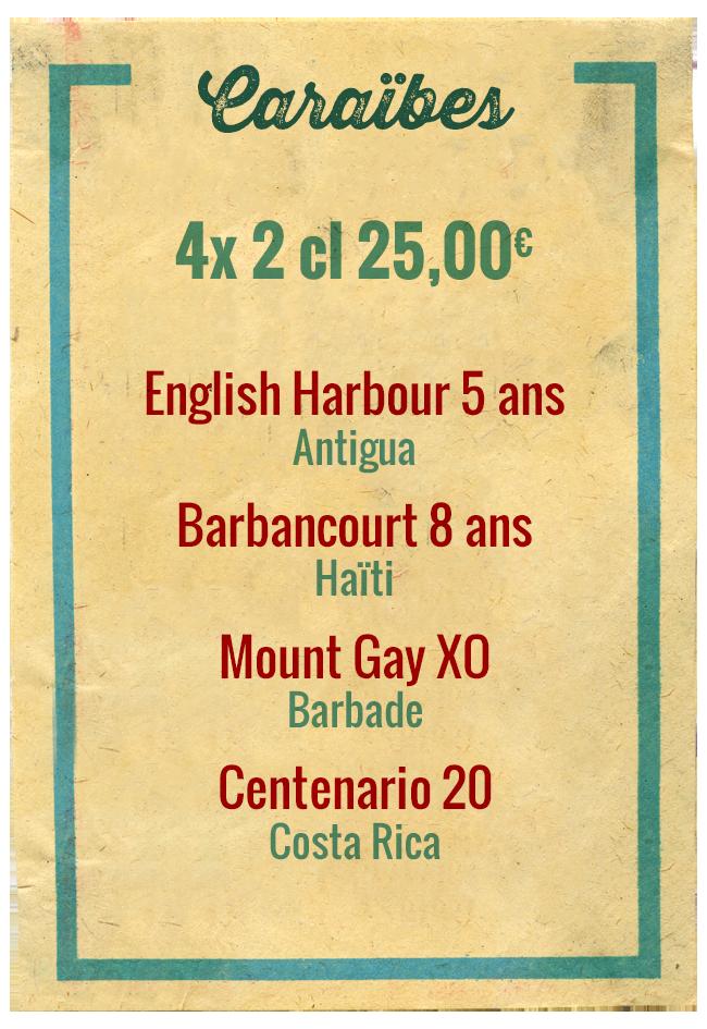 Planchette Caraïbes, 4x 2cl 25,00€