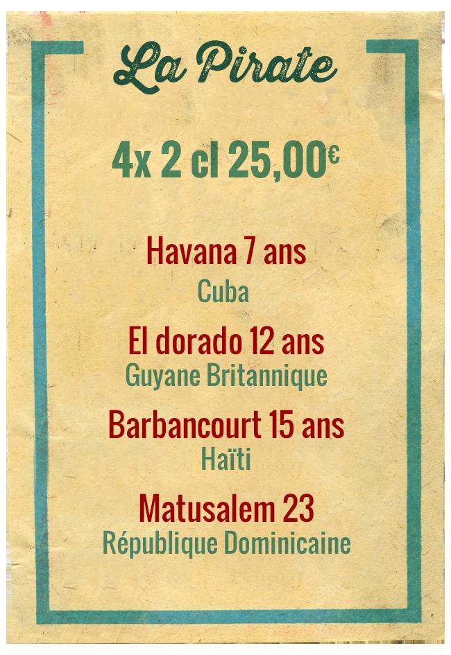 Planchette La Pirate, 4x 2cl 25,00€