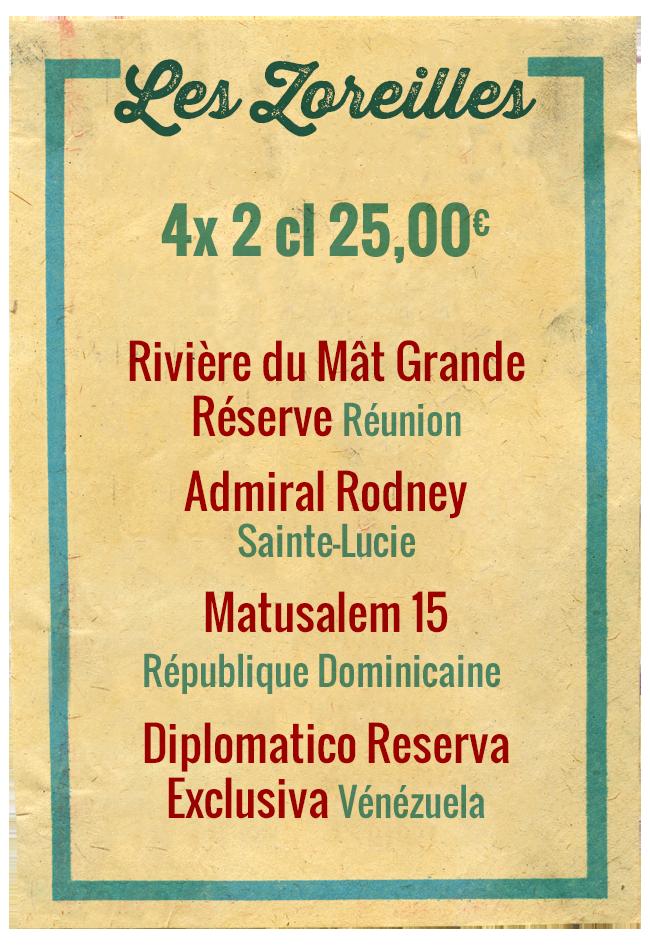 Planchette Les Zoreilles, 4x 2cl 25,00€