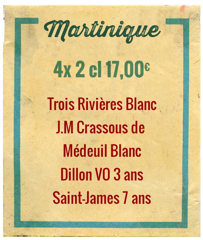 Planchette Martinique, 4x 2cl 17,00€