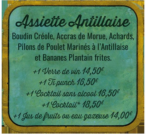 La Rhumerie, assiette antillaise